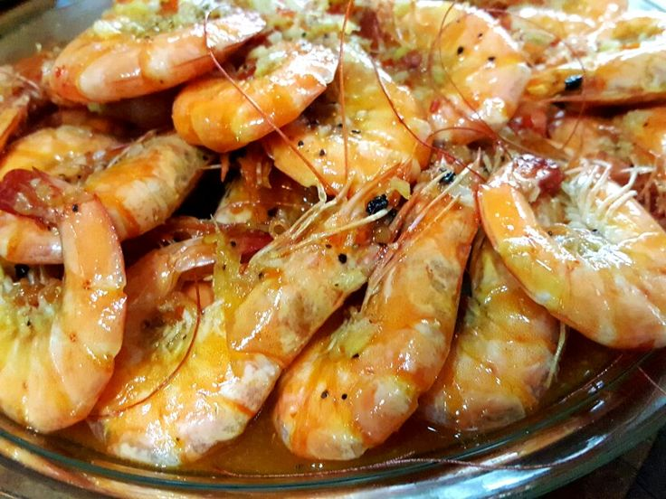 He cooks rarely but super yummy dishes.  Buttered shrimps in Thai sauce.