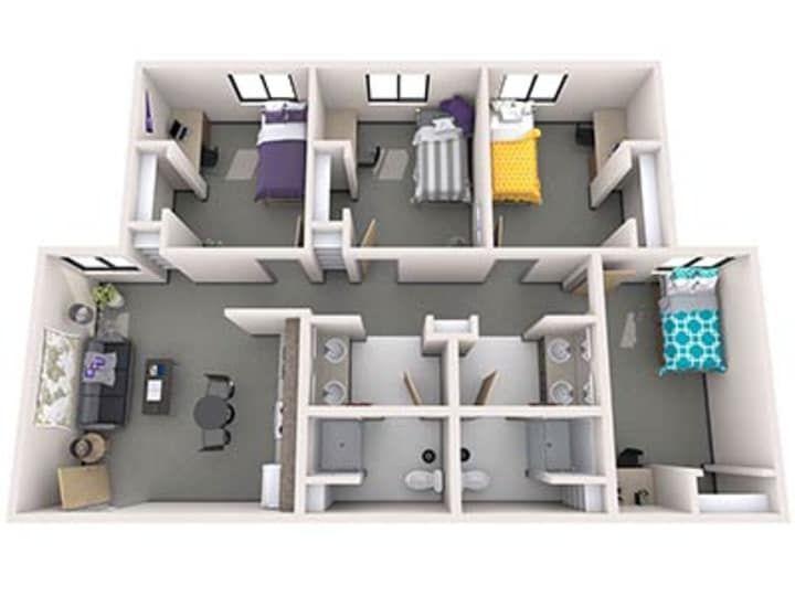 3d Rendering Of Gcu S Diamonback Apartments Student House