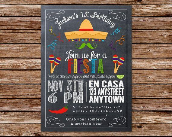 Printable Chalkboard Fiesta, Cinco de Mayo Birthday Party Invitation