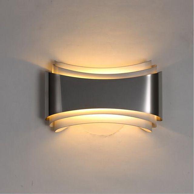 Современные светодиодные настенные светильники для спальни кабинет Из Нержавеющей стали + Аппаратный 5 Вт бра украшения дома бесплатная доставка