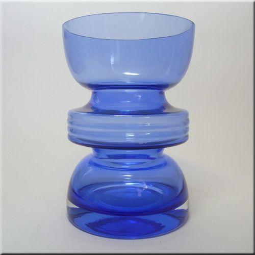 Riihimäen Lasi Oy / Riihimaki blue glass 'Tiimalasi' vase by Nanny Still, design number 1441.