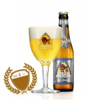 Steenbrugge Wit is a top-fermented Abbey beer that is re-fermented in the bottle.  This beer is brewed with 40% unmalted wheat and 60% malt.  It has a refreshing flavour and a smoked yeast aroma combined with subtle Bruges