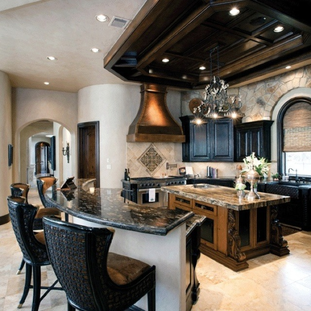 High Quality Home Kitchen With Different Color Palette I Like The Look Of A Rustic  Island With Black Cabinets. It Is Such A Beautiful Kitchen.