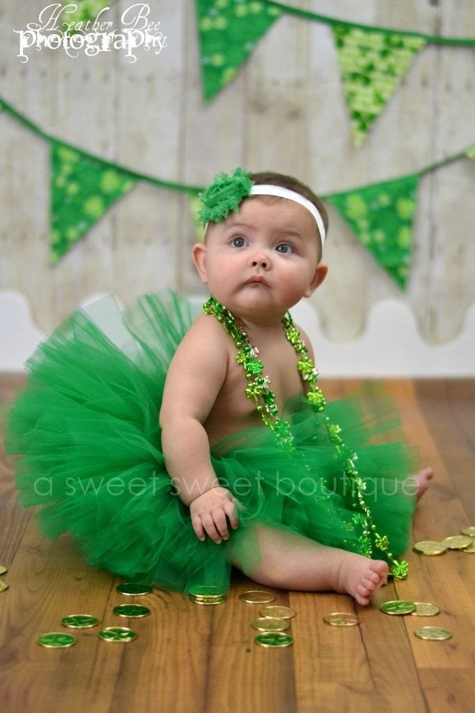 Belle Of Ireland Tutu St. Patrick's Day Tutu Baby-Girls 4T Boutique Style Custom Made With Matching Flower Headband Newborn Photo Prop. $35.00, via Etsy.