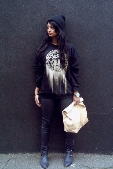 Marie Turner Lunch Bag, Smesh Style Versace Jumper, Zara Wax Denim, Jeffrey Campbell Ankle Boots