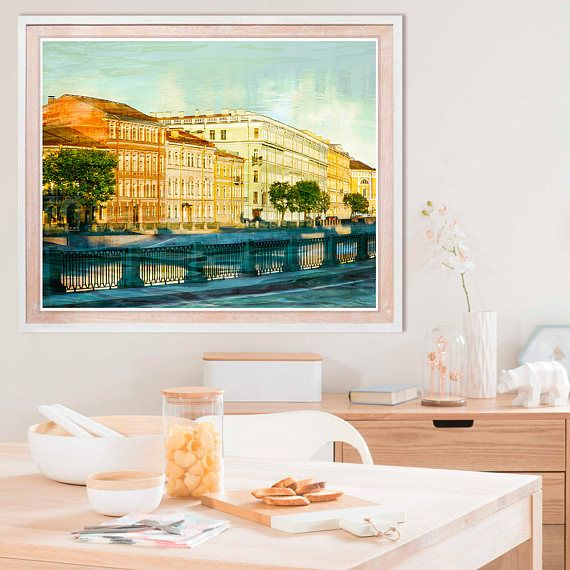 Cityscape art print large photography poster mint orange for Living room 12x16