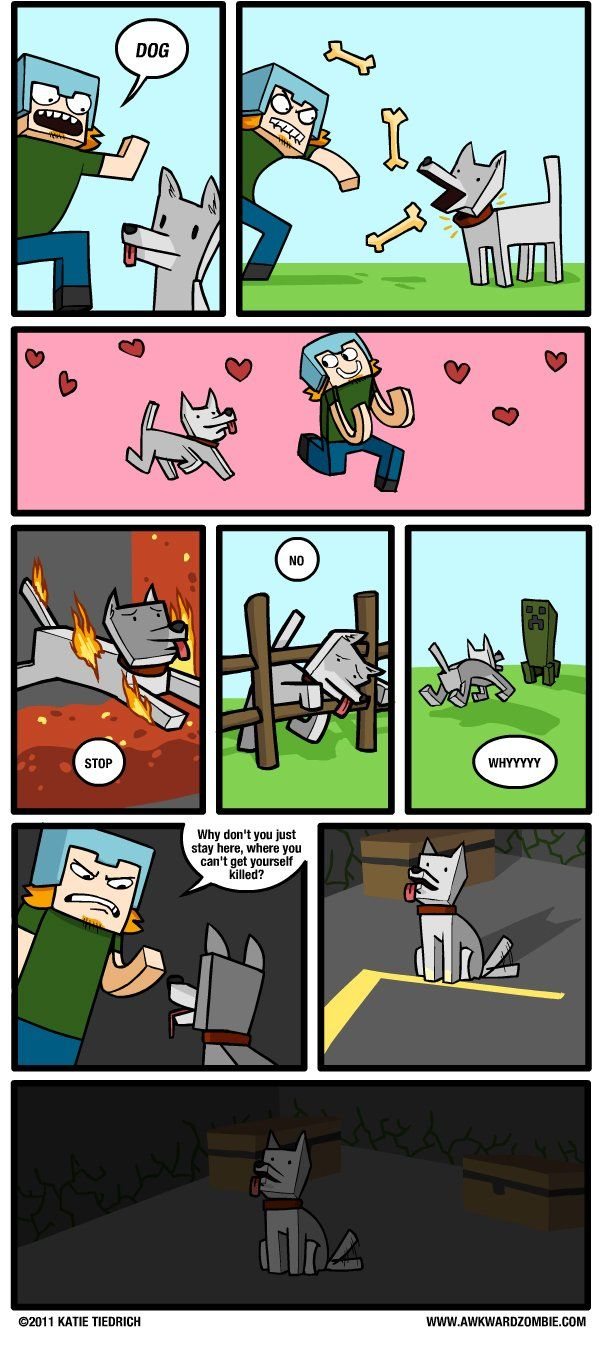 Awkward Zombie: Cry Wolf - Dorkly Comic (Minecraft and Dogs)
