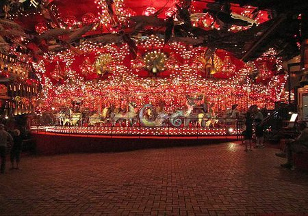 Worlds Largest Carousel. 269 hand crafted animals, 20,000 lights and 182 chandeliers, all kinds of creatures but not one is a horse. Located at House on the Rock in Milwaukee, WI