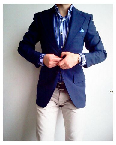 Navy sport coat with white pants