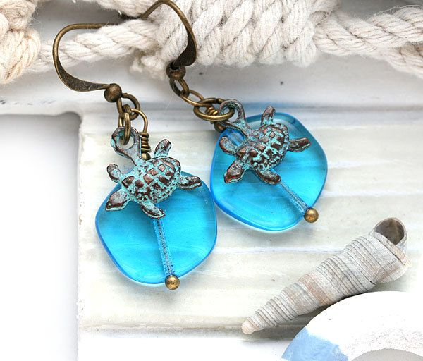 Turtle Earrings, Beach Earrings, Blue glass Earrings, Turtle Jewelry, Dangle Earrings, Sea Ocean jewelry by MayaHoney by MayaHoneyJewelry on Etsy