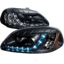 96-98 HONDA CIVIC R8 STYLE HALO LED PROJECTOR BLACK Spec D R8 Style LED Halo Projector Headlights (Black)