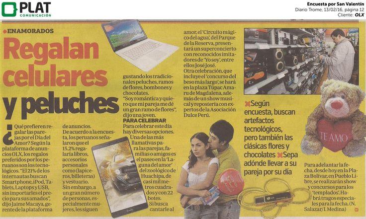OLX: Encuesta por San Valentín en el diario Trome de Perú (13/02/16)