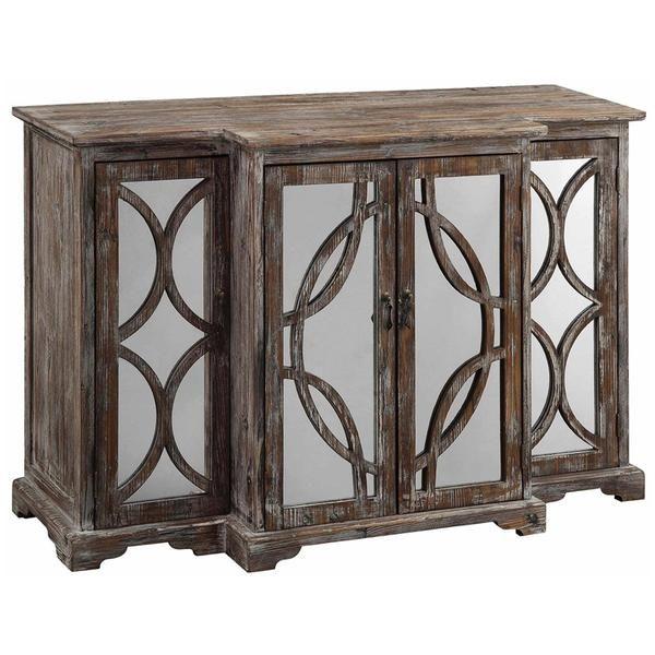 Galloway, 4 Door, Rustic, Wood, Mirror, Sideboard, brown, buffets sideboards, crestview collection, Sideboards, traditional, With Door, wood