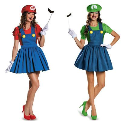 Super Mario Luigi Bro. Träger Kleid Rock Party Fasching Halloween Kostüm Damen