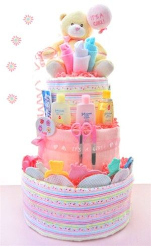Welcome Baby Girl Diaper Cake from Baby Gifts and Gift Baskets #diapercake #babyshower $88 #Recipes