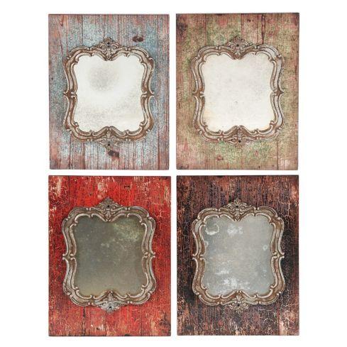Set de 4 espejos 26x35 cm Antique