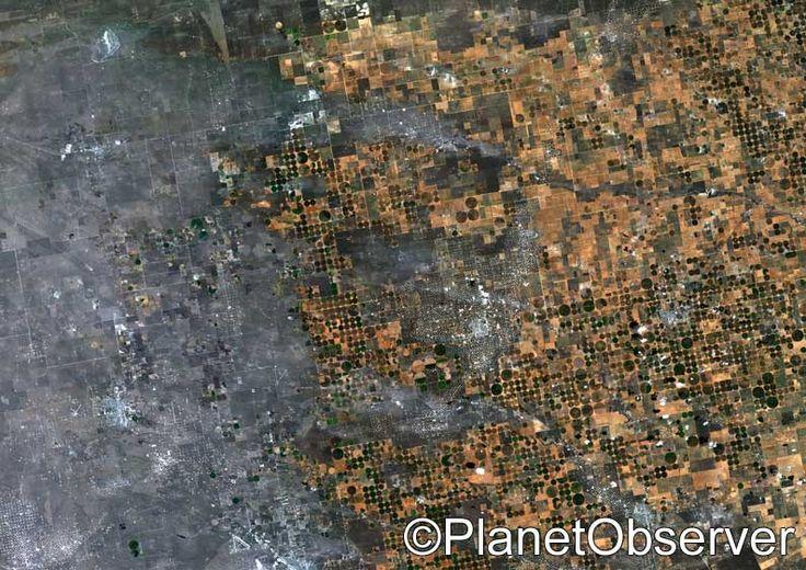 Circular fields in Texas, US – PlanetSAT satellite image