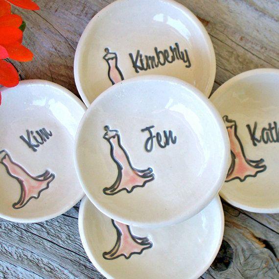 Unique Bridesmaid Gifts   Bridesmaid Gifts: Personalized Clay Keepsake Bowls