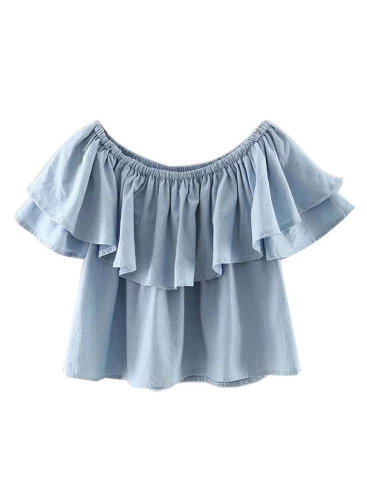 Buy Blue Off Shoulder Ruffle Hem Blouse from abaday.com, FREE shipping Worldwide - Fashion Clothing, Latest Street Fashion At Abaday.com