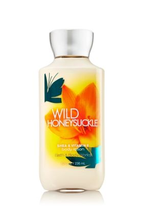 Wild Honeysuckle - Body Lotion - Bath & Body Works - America's #1 Body Lotion! Infused with Shea Butter and our exclusive Daily Moisture Complex, our enhanced lotion contains more of what skin loves, leaving it feeling incredibly soft, smooth and nourished. Fortified with nutrient-rich ingredients like protective Vitamin E and conditioning Vitamin B5, our fast-absorbing, non-greasy formula delivers 16 hours of continuous moisture.