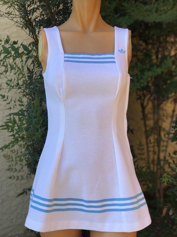 Vintage 1970s Adidas White Polyester Tennis Dress White With Baby Blue Stripe Size 10