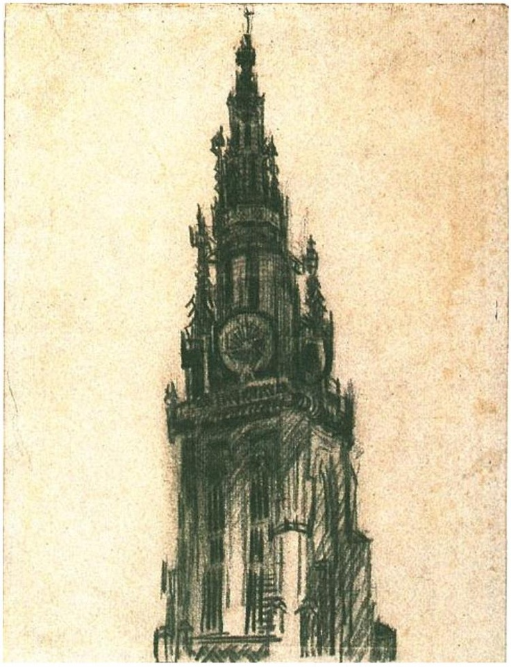 Vincent van Gogh: The Spire of the Church of Our Lady. Drawing - Black chalk. Antwerp: December, 1885. Amsterdam: Van Gogh Museum.