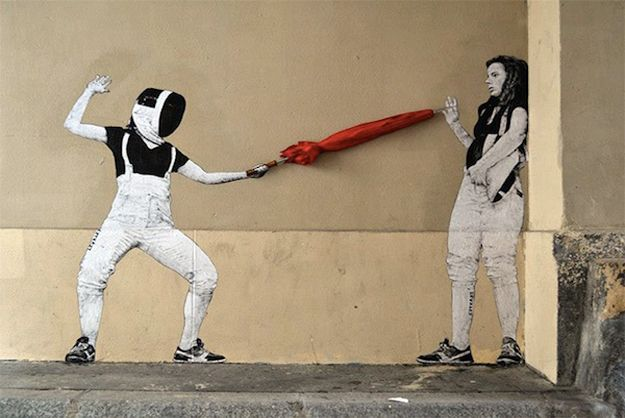 French artist uses paper cut-outs and wheatpaste to bring the urban environment to life.