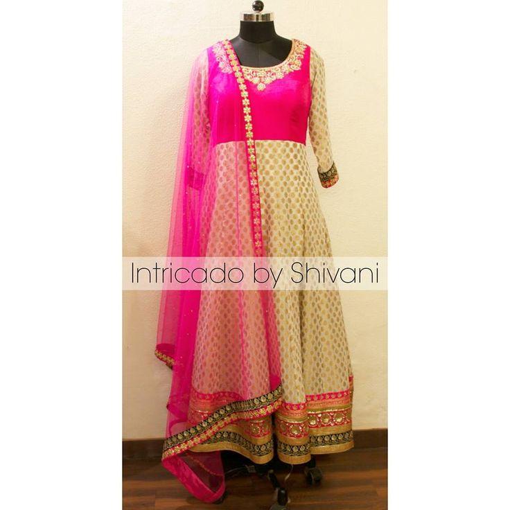 Banarasi georgette anarkali in ivory and hot pink. #anarkali #floorlengthanarkali #designeranarkali #indiandesigner #indianwedding #punjabiweding #sikhwedding #indianethnic #indianfashion #delhibride #pinkanarkali #indiandesigner #ootd #australia #canada #USA #UK #customizedclothing #delhidesigner #indiancouture #bespoke  To order/enquiry, email at shivani@intricado.com or Inbox on Facebook page www.facebook.com/intricado or Whatsapp at +918527463626