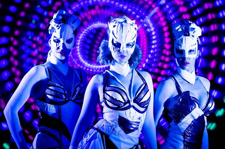 Dancers in UV light - girls from Crystal Light Show.