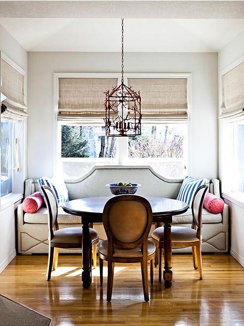 Custom built-in banquetIdeas, Dining Room, Benches, Romans Shades, Breakfast Nooks, Diningroom, Kitchens Nooks, Breakfast Room, Dining Nooks