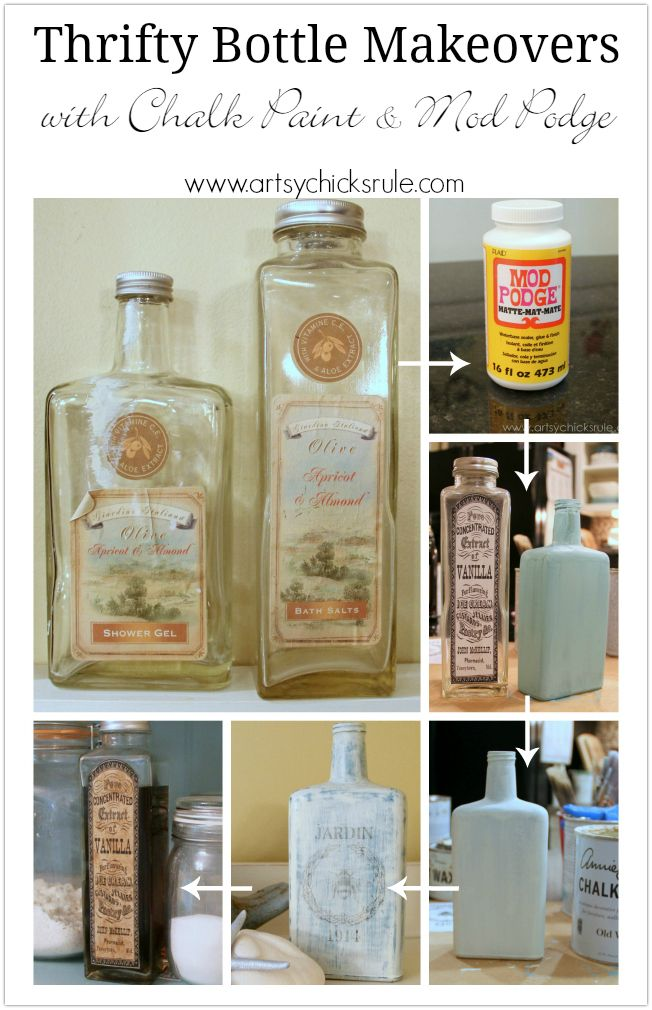 Thrifty bottle makeovers decoupage and chalk paint for Alcohol bottle crafts