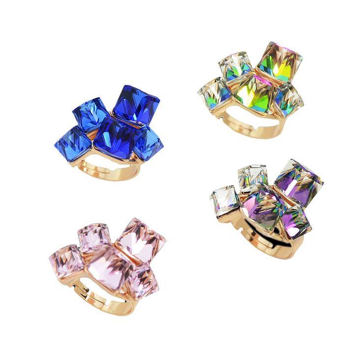2016 Новая Мода 18 К Роуз Позолоченные Красочные Фиолетовый Кристалл Люкс Геометрическая Палец Кольцо Для Женщин купить на AliExpress