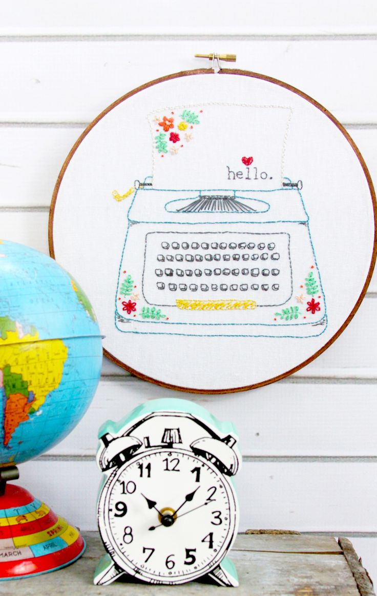 174 best embroidery diy inspiration images on pinterest hello love retro floral typewriter embroidery pattern bankloansurffo Choice Image