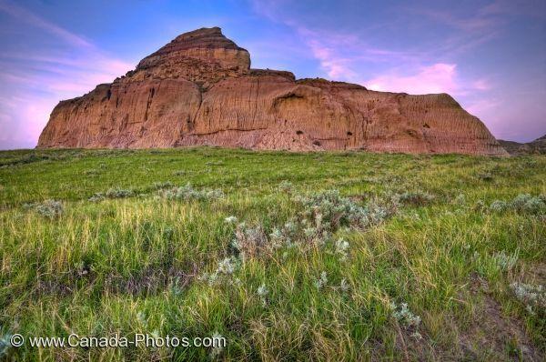 Picture of Sunset Scenic Castle Butte Big Muddy Badlands Saskatchewan