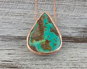 Turquoise Necklace-Gift for Wives-Raw Turquoise-Raw Jewelry-Rose gold plated 925 sterling silver raw Turquoise Necklace-Rose Gold Necklace