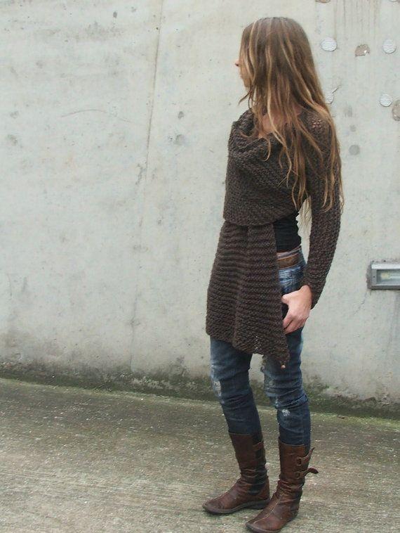Dark Brown Wraparound jacket / cardigan sweater by ileaiye on Etsy,