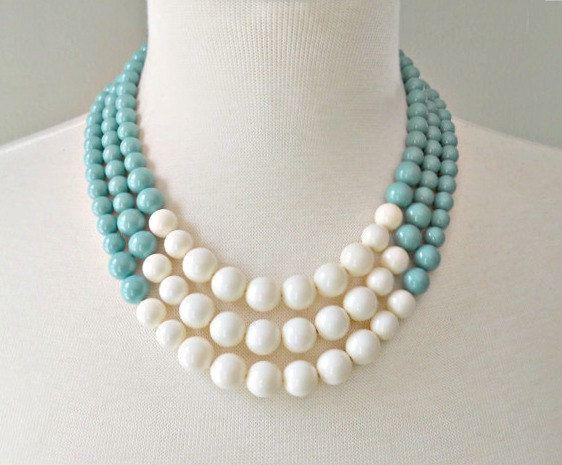 Color Block Triple Decker Necklace  in Jade / by DemoiselleDesigns