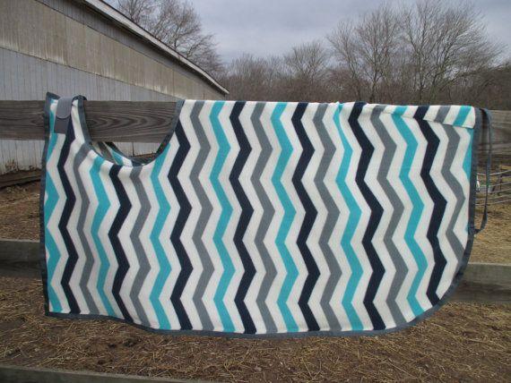 Quarter Sheet for Horses:  Ivory, Grey, Navy, Turquoise Chevron Stripe Print Fleece