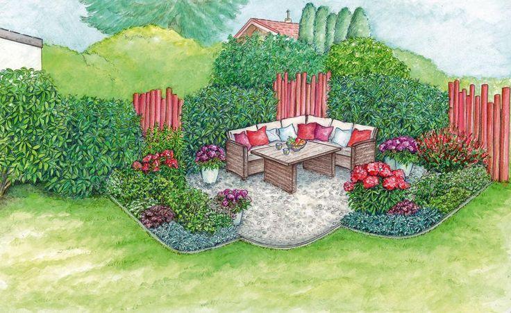 Ein wetterfestes Ecksofa wirkt gemütlich und lädt zum Platznehmen ein. Statt auf dem Rasen steht es auf einer hellen, von Betonsteinen eingefassten Kiesterrasse. Schmale Blumenbeete geben der neuen Sitzecke einen blumigen Rahmen