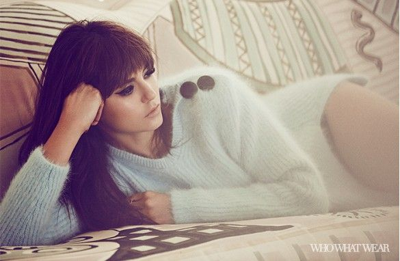 Nina Dobrev wears a mohair sweater with button detailing, photographed by Zoey Grossman