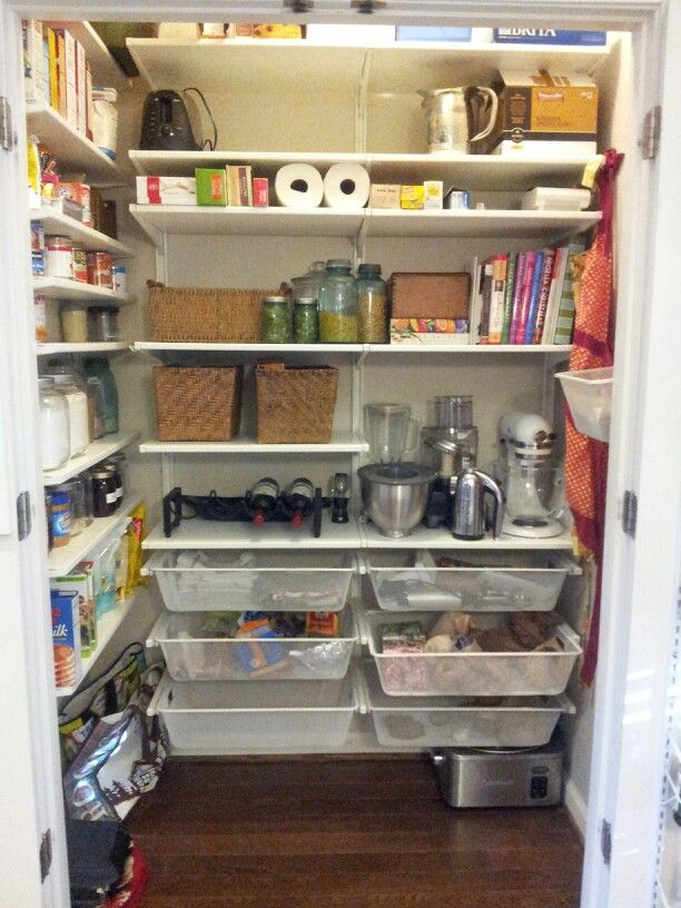 DIY pantry. Inspired by Elfa system...but was a fraction of the cost. IKEA Algot shelving for just over $200