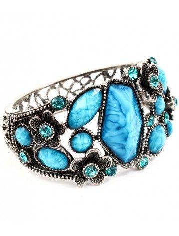 BLUE STONE & CRYSTAL FLORAL LADIES FASHION BRACELET - Crystal Bracelets - Bracelets - Jewellery