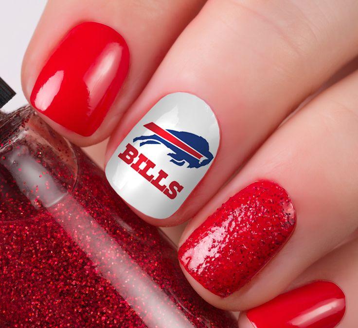Buffalo Bills Football Nail Art Decals - Nail Salon Quality!  | eBay | Football nail art, Sports nails, Football nails