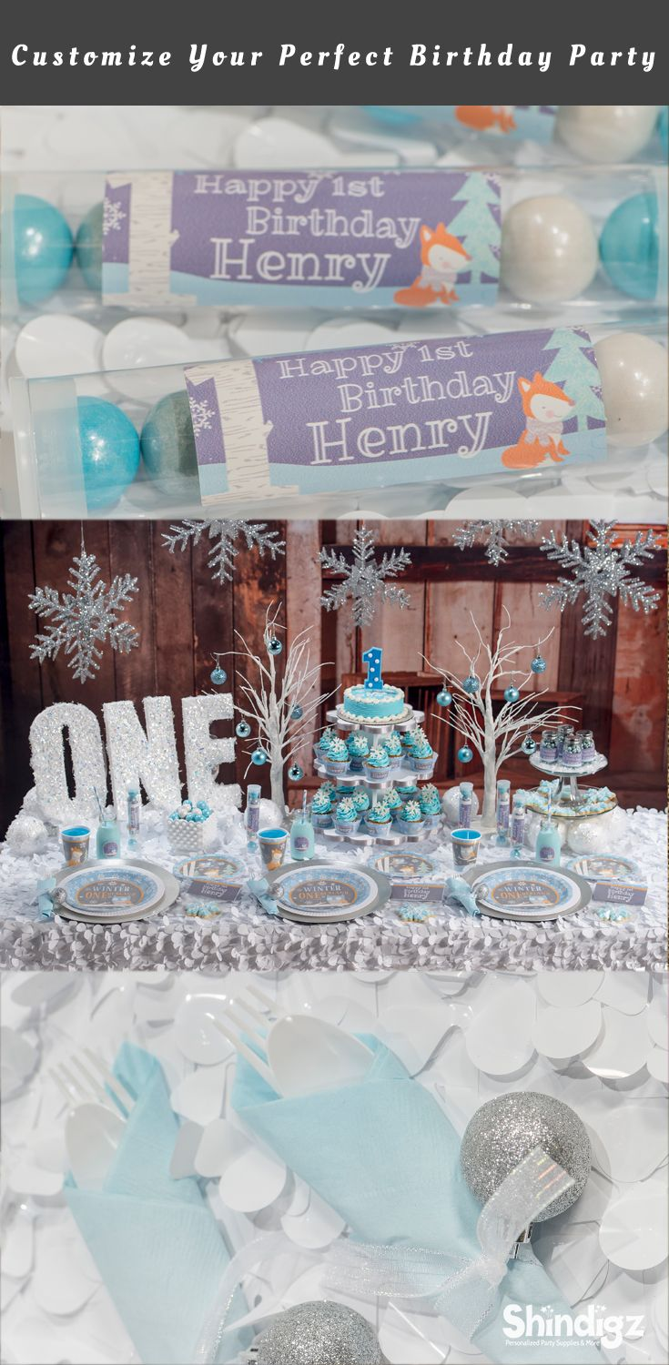 Celebrate your son's first birthday with our Blue Winter ONEderland Party Supplies! The Blue Winter ONEderland Party Supplies can be personalized with your child's name and even your favorite photos. Explore all our 1st birthday party ideas & save 10% with promo code SZPINIT until 12/31/18 11:59 PM EST.
