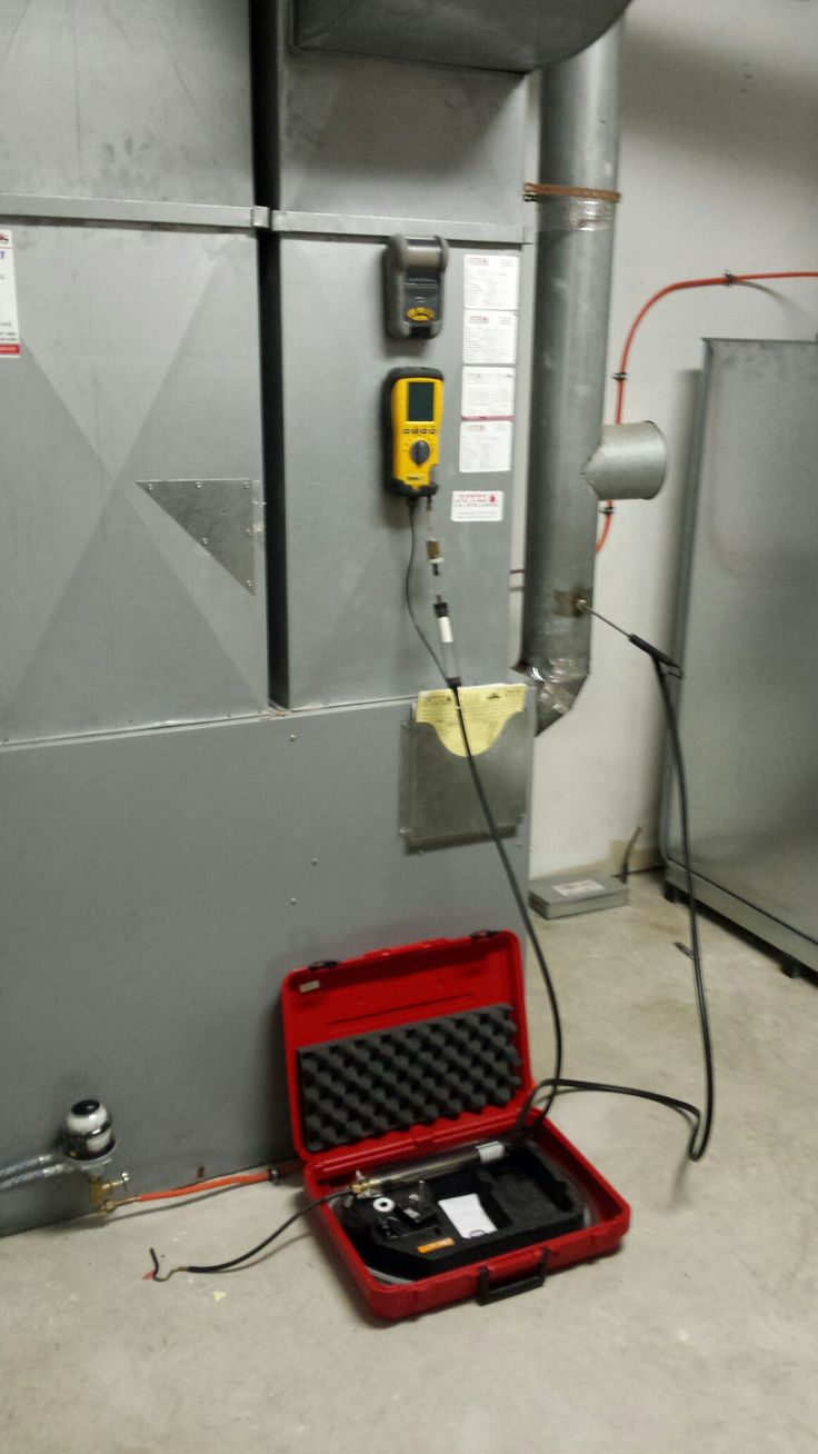 Brock MBP oil fired forced air furnace getting combustion tests done.