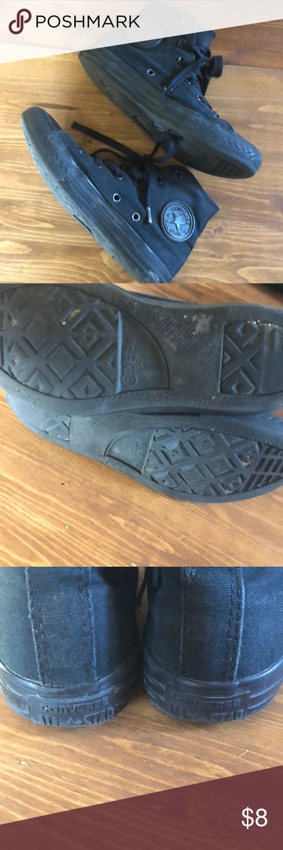 Black Converse Size 1. Black.  Need a good wash.  Have ALOT of life left. Price reflects dirt. Converse Shoes Sneakers