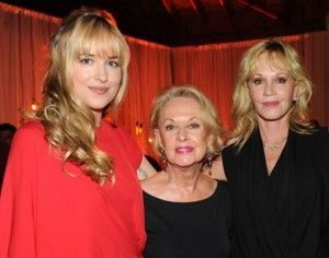Tippi Hedren (Melanie's mom) Melanie Griffith, and Dakota Johnson (her daughter with Don)  adorable