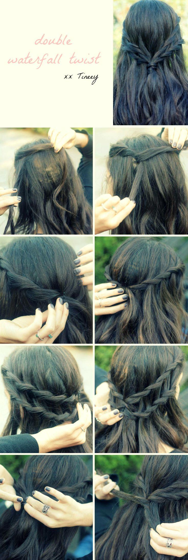 Double Waterfall Twist Hair Tutorial - Tineey