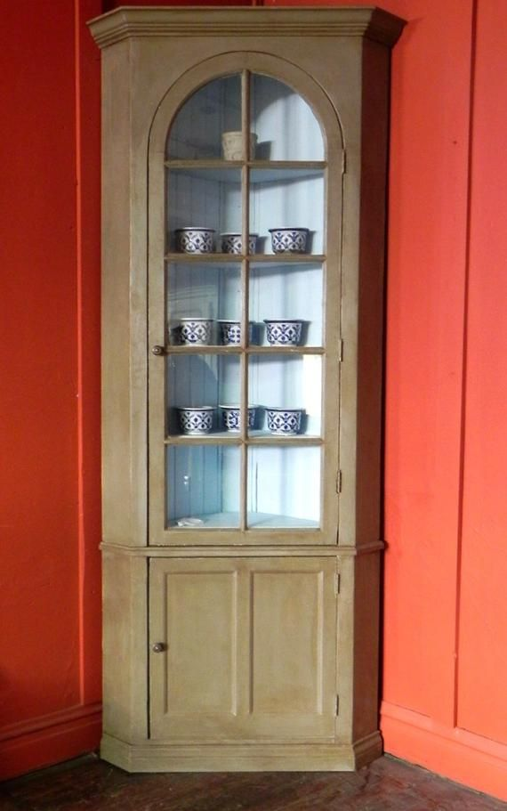 Antique Corner Cabinet Painted Distressed Wax Finish Etsy