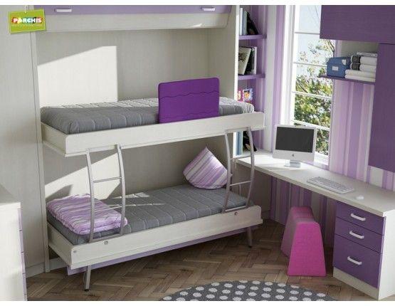 literas abatibles con dos camas, mueble literas plegadas horizontal